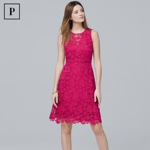 WHBM Sleeveless Lace Fit and Flare Dress